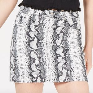 Tinseltown Juniors Snake-embossed Denim Mini Skirt